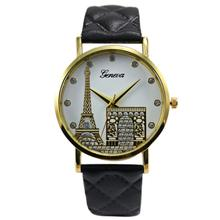 Best Deal Watch Women Eiffel Tower Pattern Watches Men's Faux Leather Quartz Wrist Watch Women's Clock Relogio Feminino #YL(China)