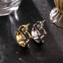 Retro animal hand cute cat ring fashion antique gold and silver retro ring women fashion party jewelry pet lover gift accessorie(China)
