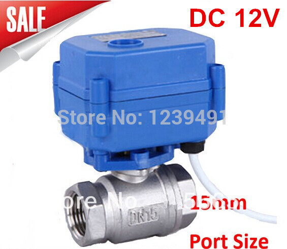 Motorized Ball Valve 1/2 DN15 DC12V 2 way Stainless Steel 304 Electric Ball Valve ,CR04 Wire<br>