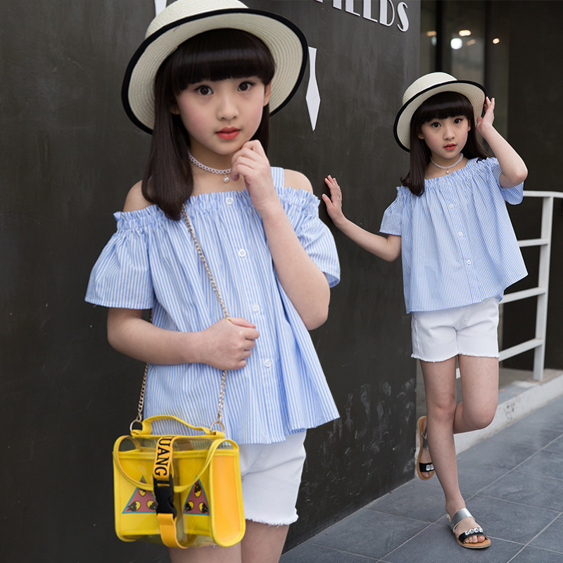 2017 Summer Girls Clothes Teenage Girls Clothing Set 2PCS Outfit Striped Off Shoulder Shirt +Short Pants Casual Suit Kid Clothes<br>