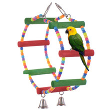 Colorful Pets Birds Toy Parrot Perroquet Macaw Cockatiel Budgie Scratcher Parrots Climb Circular Hanging Swing Hamster Rats Toy