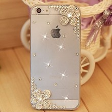 five styles,case cover for iphone 5 5s iphone 4 4s, Handmade PC Rhinestone crystal transparent mobile phone hard back case(China)