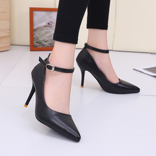 Womens Wedding Shoes Woman Ankle Buckle Pumps Pointed Toe Ladies Dress Shoes Sexy Black Shoe Thin heeled Pump zapatos mujer 2994