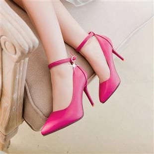 Plus sizes 40 41 point toes pumps shoes for woman black beige pink thin high heels lady ankle strap pink party pumps shoes TG895<br>