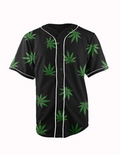2 Colors Real American Size  weed leaves  3D Sublimation Print Custom made Button up baseball jersey plus size
