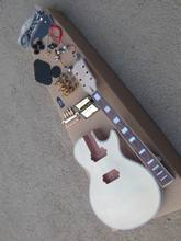 Unfinished Electric Guitar Kit With Flamed Maple Top DIY guitar Come with all hardware For LP Custom Style 130906