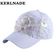 women fashion brand baseball cap brand hat for girl 58 CM sequin bling luxury floral decorate casual snapbacks outdoor hats(China)
