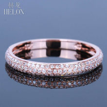 HELON Solid 14k Rose Gold Women's 100% Genuine Natural Diamonds Wedding Half Fancy Eternity Band  Engagement Fine Jewelry Ring