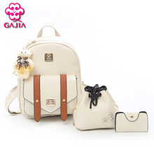 GAJIA New Products 2018 Salekorean Style Bear Pendant Casual Travel Mini Backpack PU Leather 3 Pcs/Set Small Backpack Women(China)