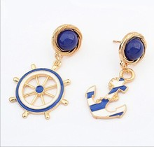 Europe an United States personality anchor the rudder amorous feelings stud earrings Earrings wholesale Texture blue sea JunFeng(China)