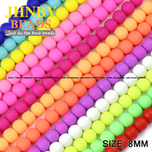 JHNBY Rubber Glass Beads Candy Color Neon Matte Round Loose Beads Ball High quality 50PCS 8mm Fit jewelry making bracelet DIY()