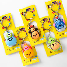 5 pcs/set Tsum Tsum mini lot keychains Minnie and Mickey mouse Stitch Mr.Q figures PVC pendants 4cm for gifts free shipping