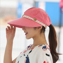 2017 Fashion Design Flower Foldable Brimmed Sun Hat Summer Hats For Women Outdoor UV Protection HT51163+20(China)