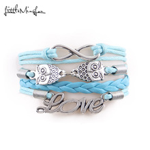 Little Minglou 8 colors New fashion infinity love owl bracelet love charm leather wrap men bracelets & bangles for women jewelry(China)