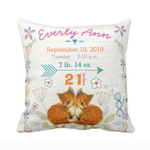 Personalized Birth Stats Baby Girl Woodland Creatures Fox Throw Pillow Cover Home Decorative Cushion Cover Pillow Case For Baby