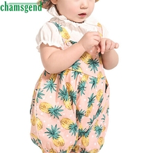 CHAMSGEND Best seller drop ship  Fashion kids clothes Baby Set Toddler Pineapple Romper Stripe Bodysuit+Pineapple Bucket Cap S30