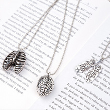 Punk Necklace Ball Chain Antique Silver Cerebrum /Brain Lung Pendant Necklace Chain 70.0cm