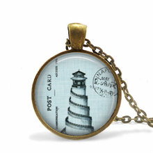 New Vintage Picture Necklace Nature Marine Pendant Light Blue Lighthouse Charm Jewelry Glass Cabochon Pendants NecklacesHZ1(China)