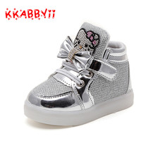 KKABBYII New Cheapest Spring Autumn Children's Sneakers Kids Shoes Chaussure Enfant Hello Kitty Girls Shoes With LED Light(China)