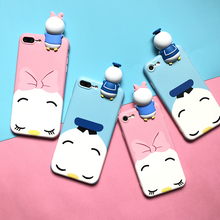 3D Donald Duck and Daisy Dolls phone Cases For iphone 6 6s 6plus 7 7Plus Scrub soft silicon case back cover for iphone 6