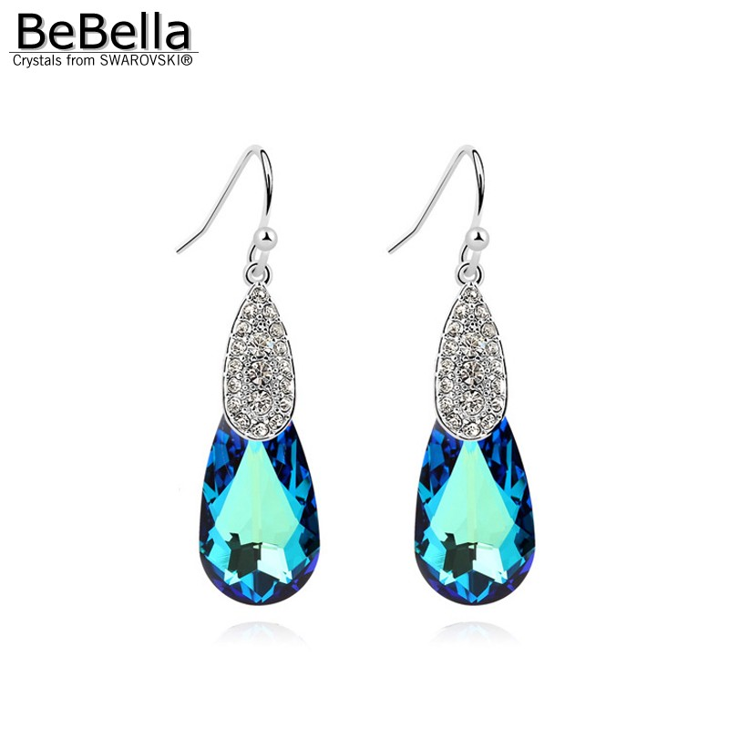 BeBella crystal pear drop pendant earrings with crystals from Swarovski original brand fashion jewelry for women Christmas gift