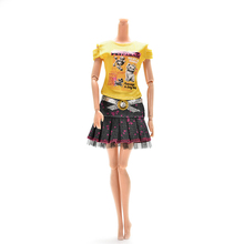 HOT Casual Toy Skirt T-shirt with Magic Pasting Doll Clothes Accessories Dress Casual Wear Party Gown Clothes For Barbie Doll