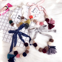 Korea Cloth Children Girl Kids Necklace & Pendant Cute Pompon Tassel Baby Chain Collars Necklace For Girl Jewelry-SWCGNL004F