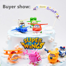 F50- 8pcs/lot Super Wings Mini Airplane ABS Robot toys Action Figures Super Wing Transformation Jet Animation Children Kids Gift(China)