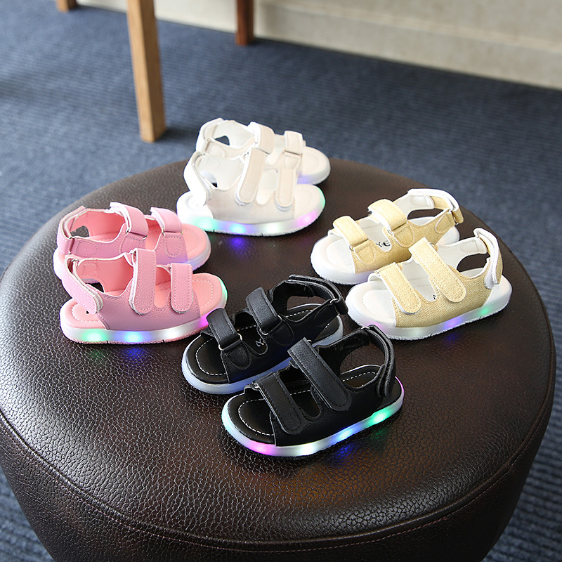 Sandals Boys Light-Shoes Girls Baby Beach-Leather Sport Kids Children Casual Led-Glowing