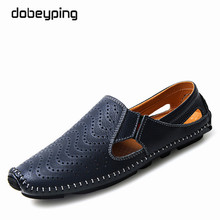 2017 New Men's Sandals Casual Real Leather Man Summer Shoes Fashion Breathable Male Loafers Soft Mocassins Shoe Large Size 38-47(China)