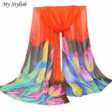 Women Ladies Women Ladies Large Flowers Pattern Print Chiffon Scarf Warm Wrap Shawl Stylish Nov 24