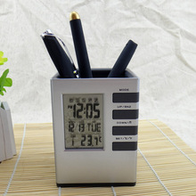 Multi Function Pen Pot LED Digital Alarm Clock Office Electronic Desk Clock With Calendar Thermometer Office Supplies @L(China)