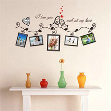 Black Bird Photo Wall Green Color Photo Frame Living Room Bedroom Decoration Stickers Wall Sticker For Kids Rooms(China)