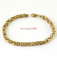 Fasion boy&men's jewelry gold 100% Stainless Steel 5mm solid chain Bracelet Bangle , free shipping,great gifts(China)