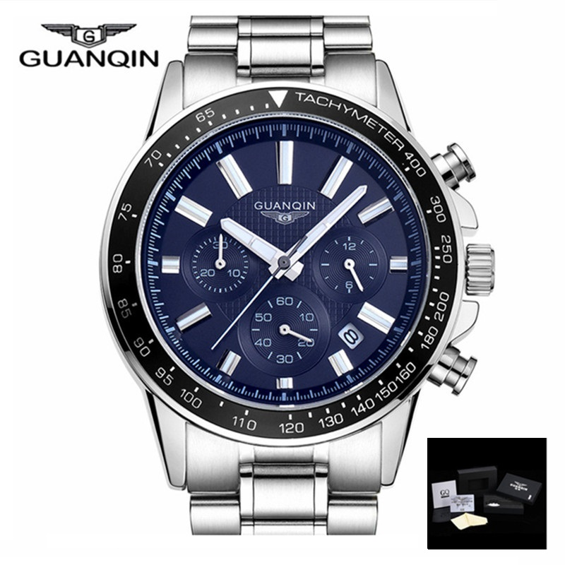 2017 Men Watches Top Brand Luxury GUANQIN Business Stainless Steel Quartz Watch Men Sport Waterproof Clock relogio masculino<br>