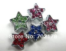 wholesales 100pcs zinc alloy and mix color rhinestone star 8mm Star Slide Charms Fit 8mm Pet Dog Cat Tag Collar Wristband