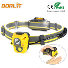 BORUIT Zoom IR Sensor LED 3 Modes MINI Headlight AAA Battery White Light HeadLamp Powered Lantern For Fishing Hunting Head Lamp