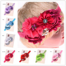 1PCS Shabby Flower headbands Rhinestones Hair bows headband Baptism Gift Hair Accessories Fashion Accessories