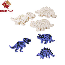 3Pcs/Set Dinosaur Cookies Cutter Biscuit Mould Set Baking Tools Cutter Tools Cake Decoration Bakeware Mold(China)
