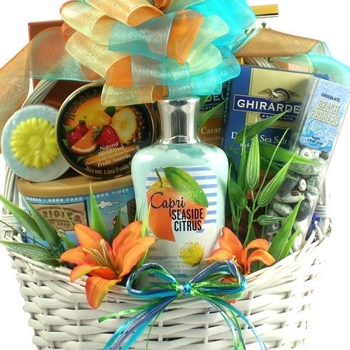 Gift Basket Drop Shipping SeScSa Seaside Scent-sation Tropical Spa & Gourmet Gift Basket