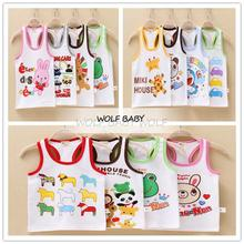 Retail 2pcs/pack 1-7years sleeveless vest shirt pint cartoon baby kids children Clothing girls boys Clothes Infant Garment