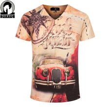 Men's tide brand European and American style summer short-sleeved t shirt,Newest red car print 3d star tee shirts homme