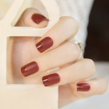 24pcs Frosted French Nails Flat False Nails Red Wine Full Cover Nail Tips with Glue Sticker Z331