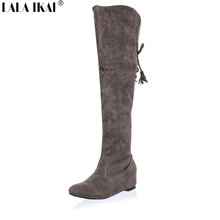 LALA IKAI Cotton Winter Snow Women Thigh High Boots Suede Low Heels Over The Knee Boots Tassel Women Winter Shoes XWN0324-5