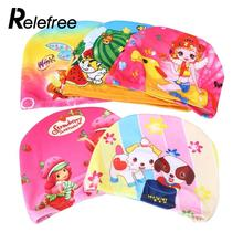 Relefree Unisex Kids Baby Boys Girls Cartoon Polyester Waterproof Swimming Cap Hat Elasticity Bathing Swim Cap