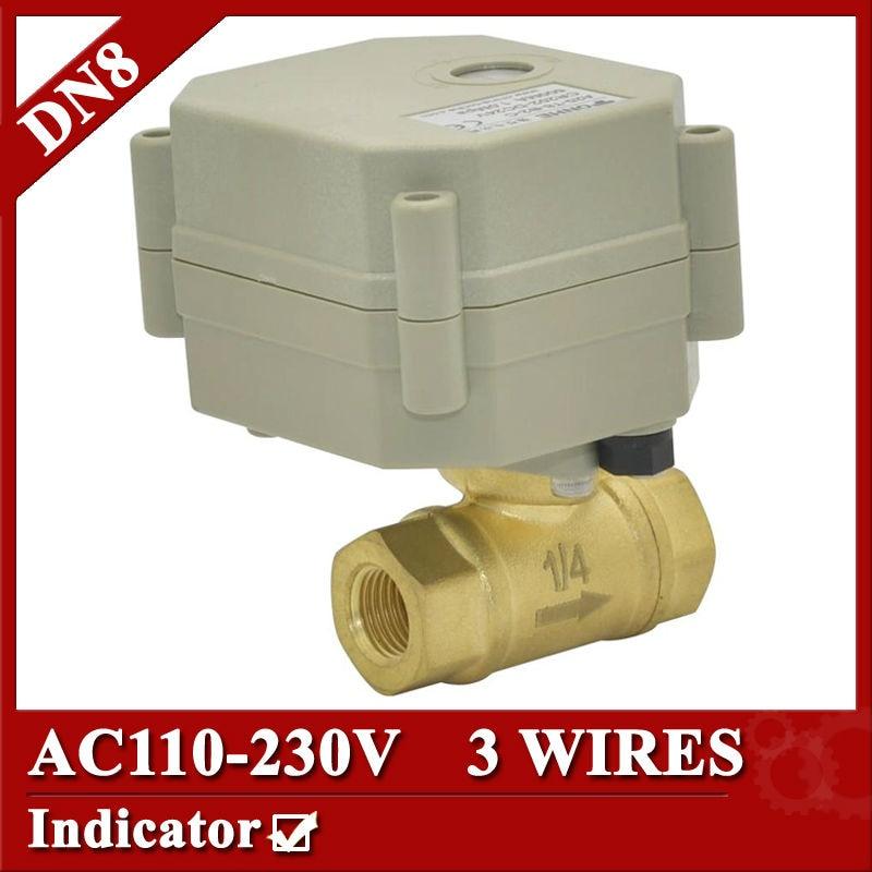 1/4  brass electric valve 3wires, DN8 motorized valve, AC110V - 230V  electric valve with indicator<br><br>Aliexpress