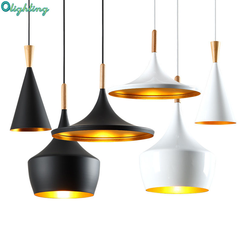 Nordic black white aluminum wood hanging pendant light indoor lighting fixture modern beat tall fat pendant lamp dining room <br>