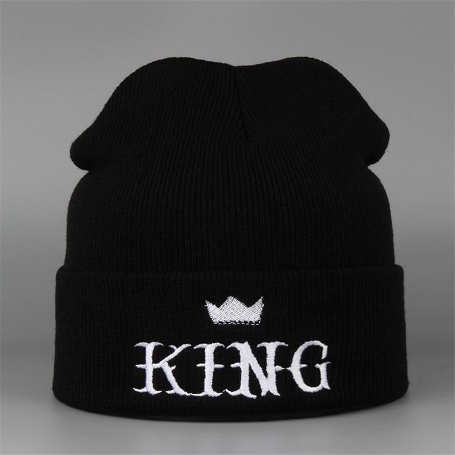 New Winter 2016  Hat Female King Embroidery Knitted Warm Fashion Brand Hip Hop Men Women Male Cap Skullies BeaniesÎäåæäà è àêñåññóàðû<br><br><br>Aliexpress