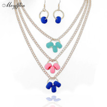 Fashion Jewelry Sets for Women 2017 Gold Multilayer Necklace Earring Set Charm Accessories Wedding Jewelry