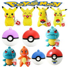 Mini Pen Drive Pokemon Pikachu Gift Pen Drive 8GB 16GB 32GB 64GB Keychain Cartoon Squirtle / Charizard Usb Flash Drive Pendrive